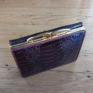 Vintage Burgundy Crocodile Skin Leather Wallet